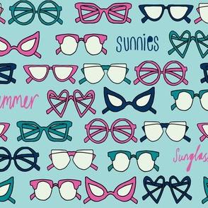 sunglasses fabric // cute summer girls sunnies sunglasses beach design - pink and blue