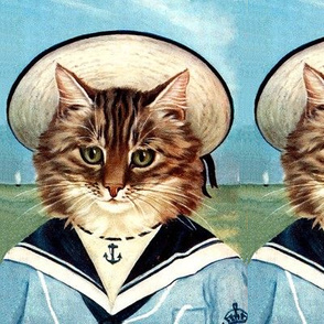 cats Maine Coon sailors sailing boats ships nautical sea ocean waves yacht navy animals hats vintage retro kitsch anthropomorphic sky clouds