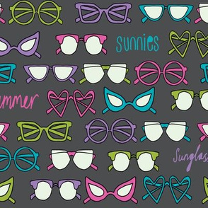 sunglasses fabric // cute summer girls sunnies sunglasses beach design - charcoal