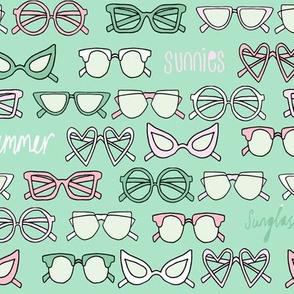 sunglasses fabric // cute summer girls sunnies sunglasses beach design - mint and pink