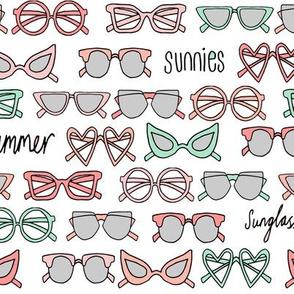 sunglasses fabric // cute summer girls sunnies sunglasses beach design - coral and mint