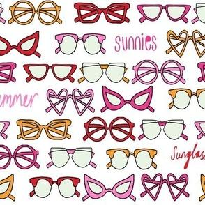 sunglasses fabric // cute summer girls sunnies sunglasses beach design - red, orange, pink and yellow