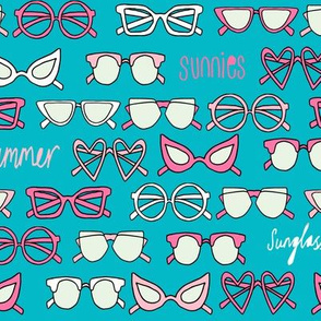 sunglasses fabric // cute summer girls sunnies sunglasses beach design - pink and turquoise