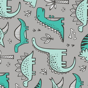 Dinosaurs on Grey Rotated