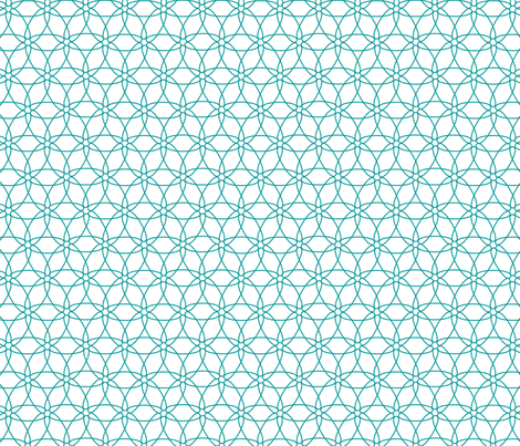 Interlocking Floral (teal on white)  fabric by chiral on Spoonflower - custom fabric