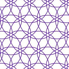 Interlocking Floral (purple on white)