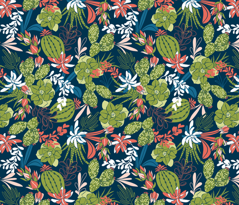 Succulent Garden - Navy Blue fabric by heatherdutton on Spoonflower - custom fabric