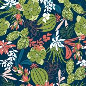 Succulent Garden - Navy Blue