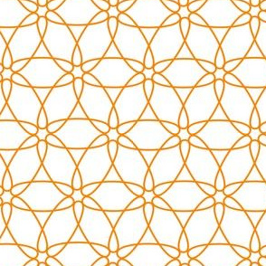 Interlocking Floral (orange on white)