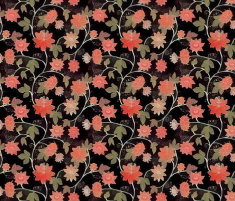 deep_rosy_trumpet_vine fabric by lfntextiles on Spoonflower - custom fabric