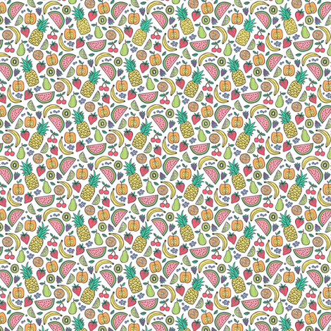 Summer Fruit Pineapple,strawberry,watermelon on White Tiny Small fabric by caja_design on Spoonflower - custom fabric