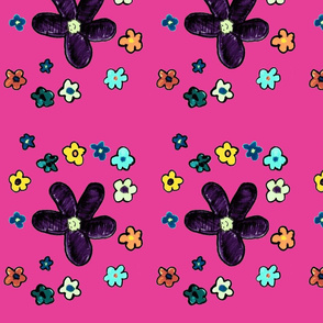 Happy Flowers on Pink