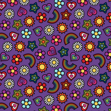 Flower Power Ditsy Small Violet fabric by modgeek on Spoonflower - custom fabric