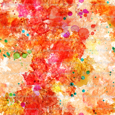 Abstract Watercolor Leaves 'n Splats