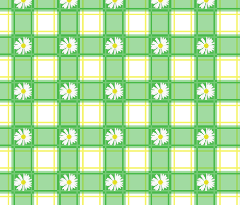 Daisies on Green Plaid fabric by mel_fischer on Spoonflower - custom fabric