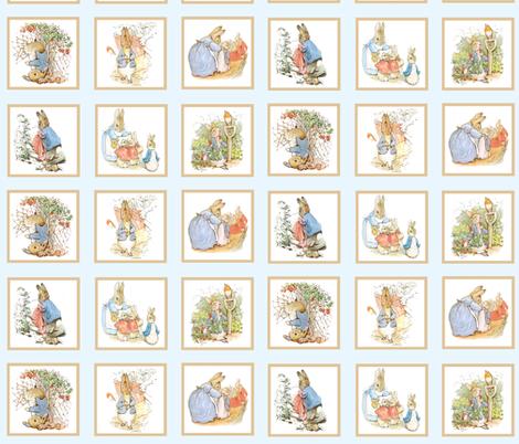 Peter Rabbit Quilt Block Panel No. 1  - Ice Blue fabric by aspenartsstudio on Spoonflower - custom fabric