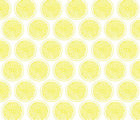 Lemon Slices on White fabric by chiral on Spoonflower - custom fabric