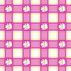 Daisies on Pink Plaid