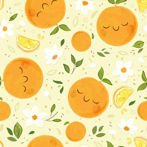 Orange Citrus Pattern- Larger Print fabric by sweetsurprises on Spoonflower - custom fabric