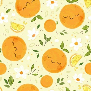 Orange Citrus Pattern- Larger Print