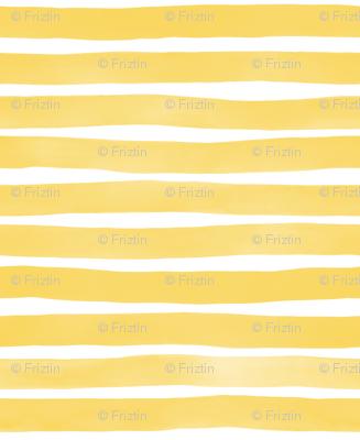 Yellow Yolk Watercolor Stripes by Friztin