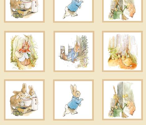 Peter Rabbit Quilt Block Panel No. 2  - Kraft / Light Tan fabric by aspenartsstudio on Spoonflower - custom fabric