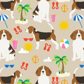 beagle beach fabric cute summer beach sunshine design - sand
