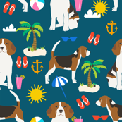 beagle beach fabric cute summer beach sunshine design - sapphire blue