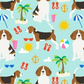 beagle beach fabric cute summer beach sunshine design - light blue