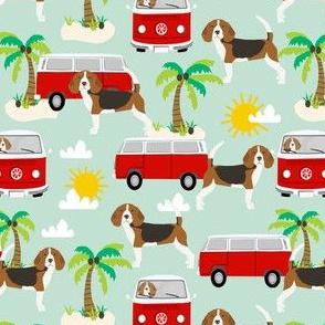 beagle beach bus hippie bus palm trees cute dog fabric - mint