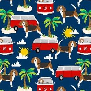 beagle beach bus hippie bus palm trees cute dog fabric - navy