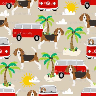 beagle  palm trees cute dog fabric - sand