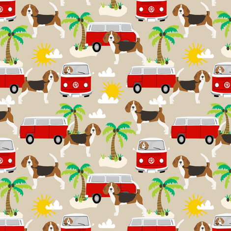 beagle  palm trees cute dog fabric - sand fabric by petfriendly on Spoonflower - custom fabric