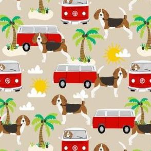 beagle beach bus hippie bus palm trees cute dog fabric - sand