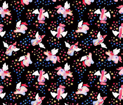 Puppy Unicorns - black fabric by jenuine_designs on Spoonflower - custom fabric