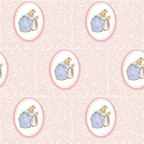 Mother Rabbit and Peter - Light Pink Scroll and Frame