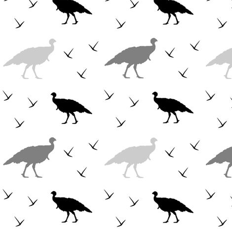 Turkey Thanksgiving blck grey fabric by pimento on Spoonflower - custom fabric