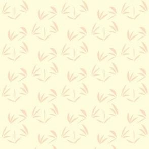 Pinky Peach Oriental Tussocks on Magnolia Cream - Small Scale