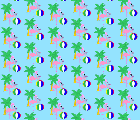 Beach Flamingo fabric by flamincatdesigns on Spoonflower - custom fabric