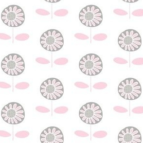 Retro flower - pink and grey on white