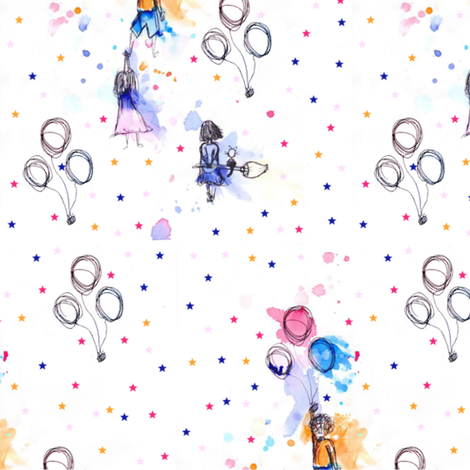 colorful floating baloons fabric by infiknit_fabrics on Spoonflower - custom fabric