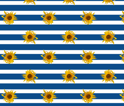 Sunflowers on Blue and White Stripes fabric by mel_fischer on Spoonflower - custom fabric