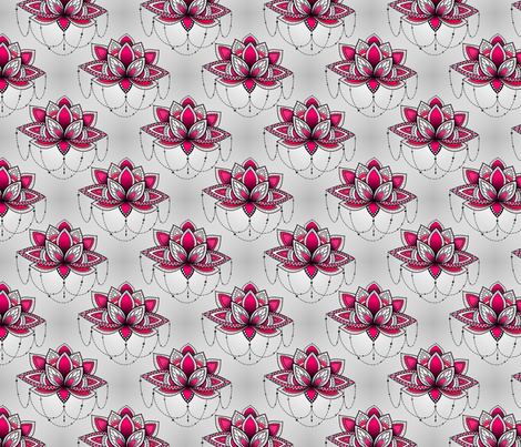 Pink Lotus Flowers fabric by infiknit_fabrics on Spoonflower - custom fabric