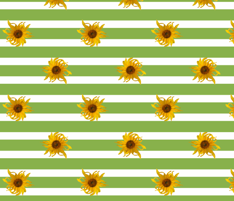 Sunflowers on Green and White Stripes fabric by mel_fischer on Spoonflower - custom fabric