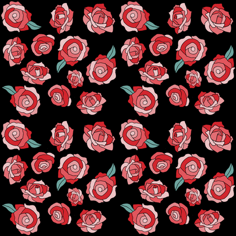 Cartoon Pink And Red Roses Fabric By Infiknit Fabrics On Spoonflower
