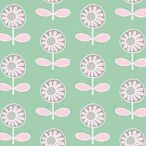Retro flower - pink on mint