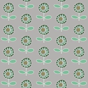 Retro flower - mint on grey