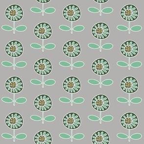 Retro flower - mint on grey