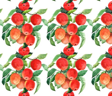 Bright summer apples  fabric by nadiia_nemchenko on Spoonflower - custom fabric