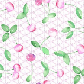 Pastel Cherry Watercolor Pink and Green on Butterfly_Miss Chiff Designs